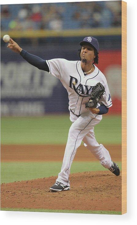 American League Baseball Wood Print featuring the photograph Juan Carlos Oviedo by Scott Iskowitz