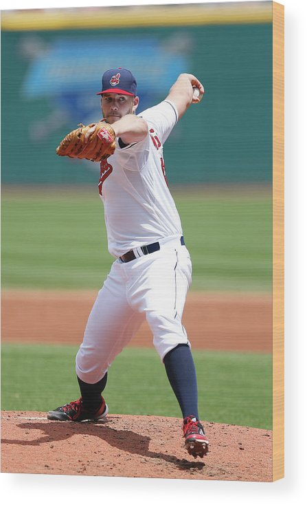 American League Baseball Wood Print featuring the photograph Justin Masterson by Joe Robbins