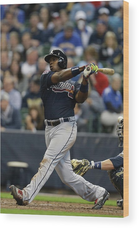 Home Base Wood Print featuring the photograph Justin Upton by Mike Mcginnis