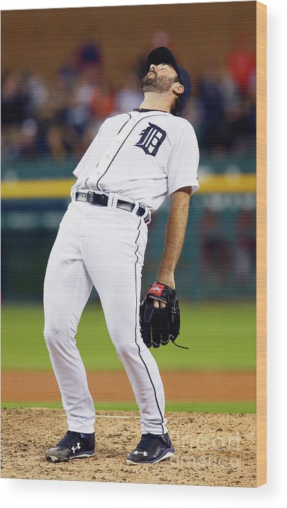 Ninth Inning Wood Print featuring the photograph Justin Verlander and Chris Iannetta by Duane Burleson