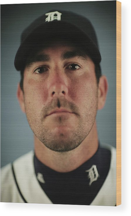 Media Day Wood Print featuring the photograph Justin Verlander by Nick Laham