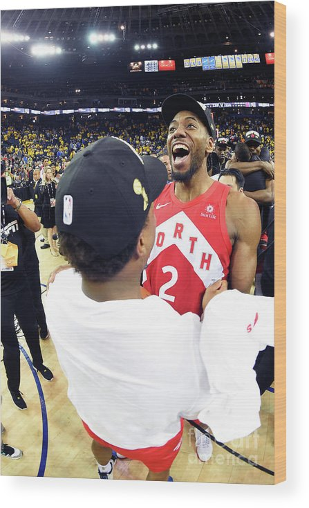 Playoffs Wood Print featuring the photograph Kawhi Leonard and Kyle Lowry by Andrew D. Bernstein