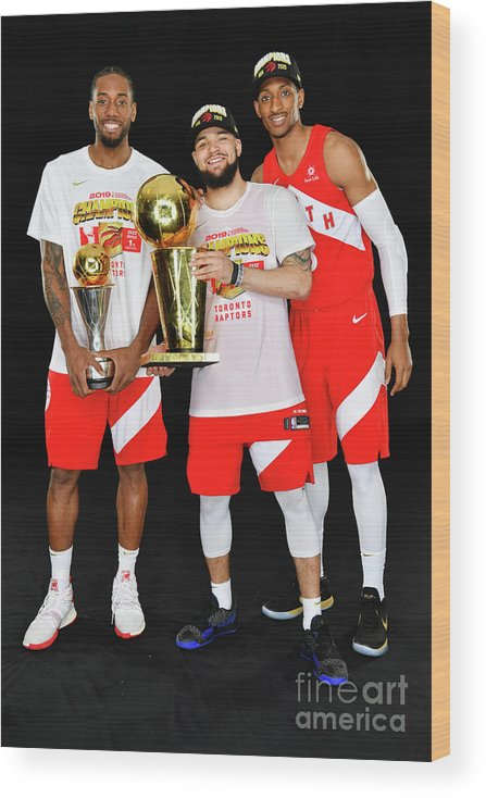 Playoffs Wood Print featuring the photograph Kawhi Leonard, Fred Vanvleet, and Malcolm Miller by Jesse D. Garrabrant