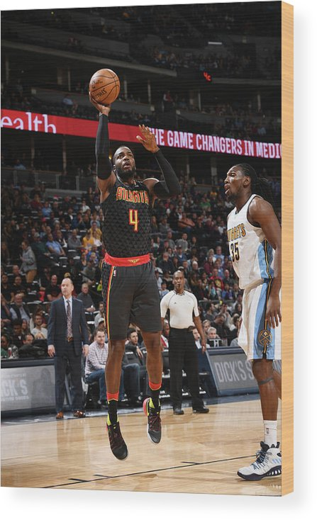 Nba Pro Basketball Wood Print featuring the photograph Kenneth Faried and Paul Millsap by Garrett Ellwood