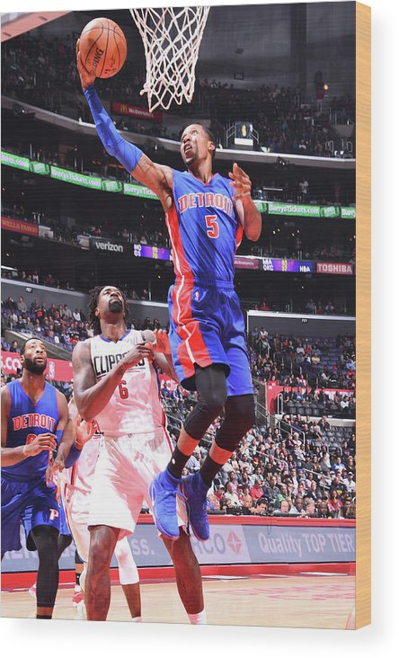 Nba Pro Basketball Wood Print featuring the photograph Kentavious Caldwell-pope by Juan Ocampo