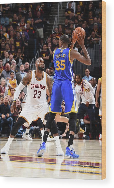 Playoffs Wood Print featuring the photograph Kevin Durant and Lebron James by Andrew D. Bernstein