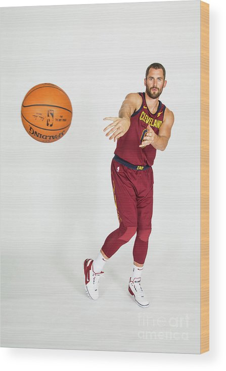 Media Day Wood Print featuring the photograph Kevin Love by Michael J. Lebrecht Ii