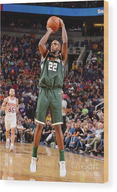 Nba Pro Basketball Wood Print featuring the photograph Khris Middleton by Barry Gossage