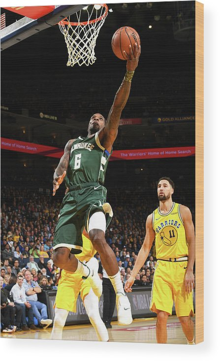 Nba Pro Basketball Wood Print featuring the photograph Klay Thompson and Eric Bledsoe by Noah Graham