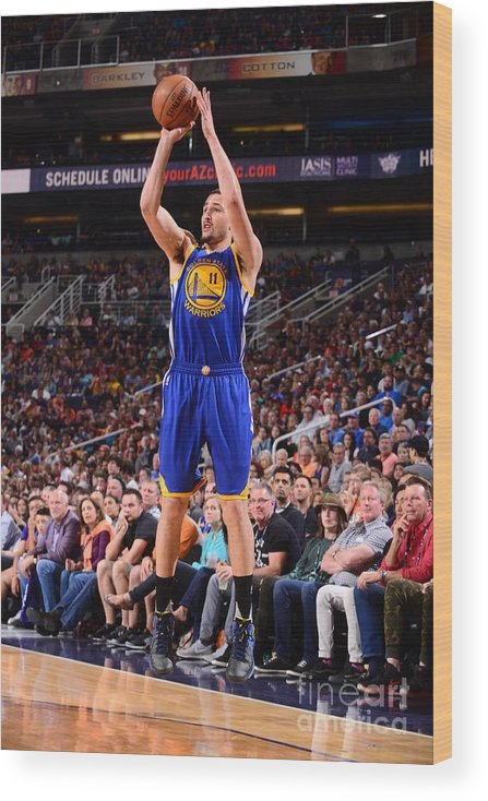Nba Pro Basketball Wood Print featuring the photograph Klay Thompson by Barry Gossage