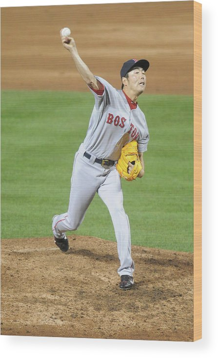 Ninth Inning Wood Print featuring the photograph Koji Uehara by Mitchell Layton