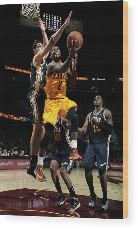 Nba Pro Basketball Wood Print featuring the photograph Kyrie Irving and Enes Kanter by David Liam Kyle