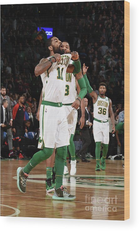 Nba Pro Basketball Wood Print featuring the photograph Kyrie Irving and Marcus Morris by Brian Babineau