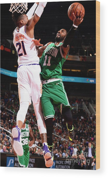 Nba Pro Basketball Wood Print featuring the photograph Kyrie Irving and Richaun Holmes by Barry Gossage