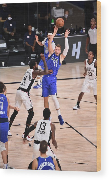 Playoffs Wood Print featuring the photograph LA Clippers v Dallas Mavericks - Game Three by David Dow