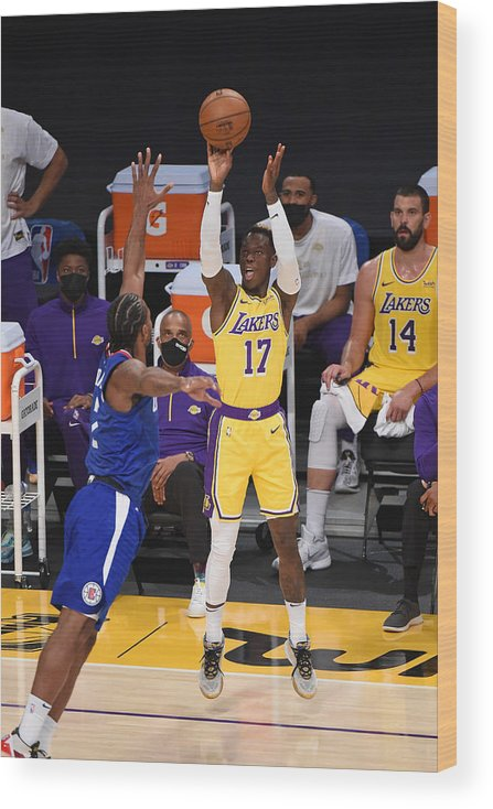 Nba Pro Basketball Wood Print featuring the photograph LA Clippers v Los Angeles Lakers by Adam Pantozzi