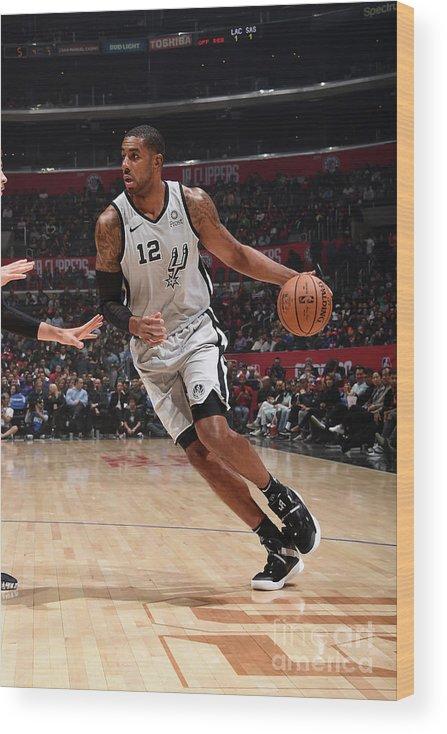 Nba Pro Basketball Wood Print featuring the photograph Lamarcus Aldridge by Adam Pantozzi