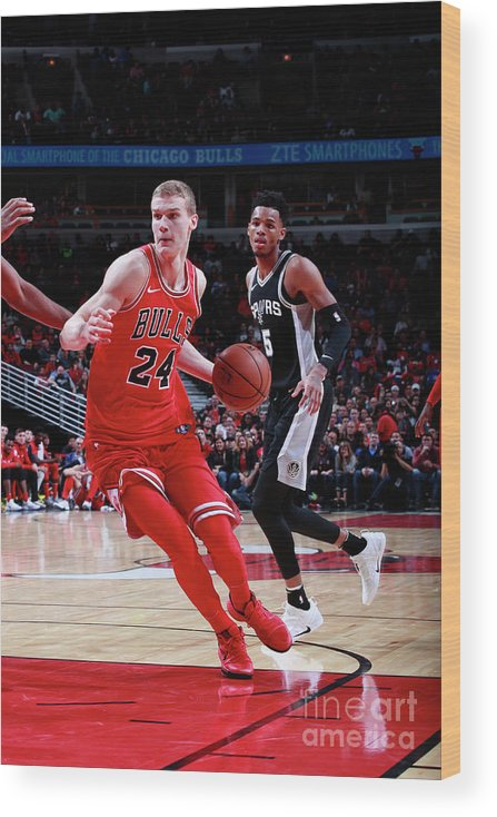 Chicago Bulls Wood Print featuring the photograph Lauri Markkanen by Jeff Haynes