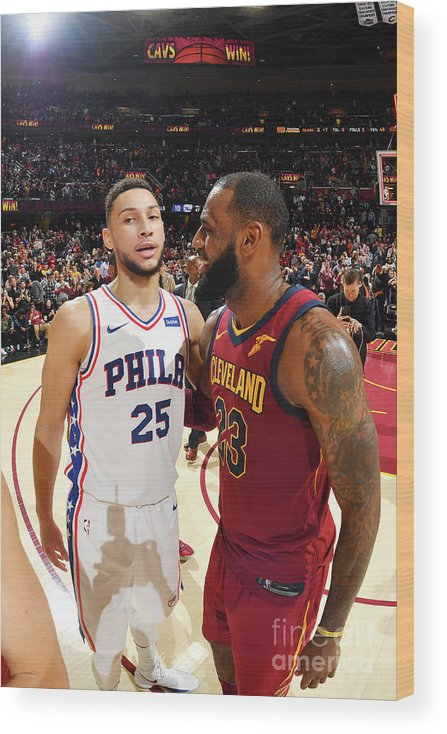 Nba Pro Basketball Wood Print featuring the photograph Lebron James and Ben Simmons by Jesse D. Garrabrant