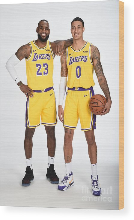 Media Day Wood Print featuring the photograph Lebron James and Kyle Kuzma by Andrew D. Bernstein