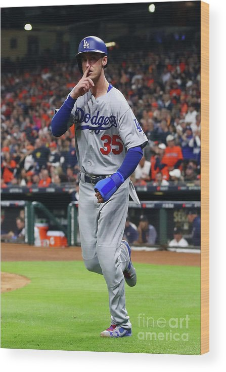 People Wood Print featuring the photograph Logan Forsythe and Cody Bellinger by Ezra Shaw