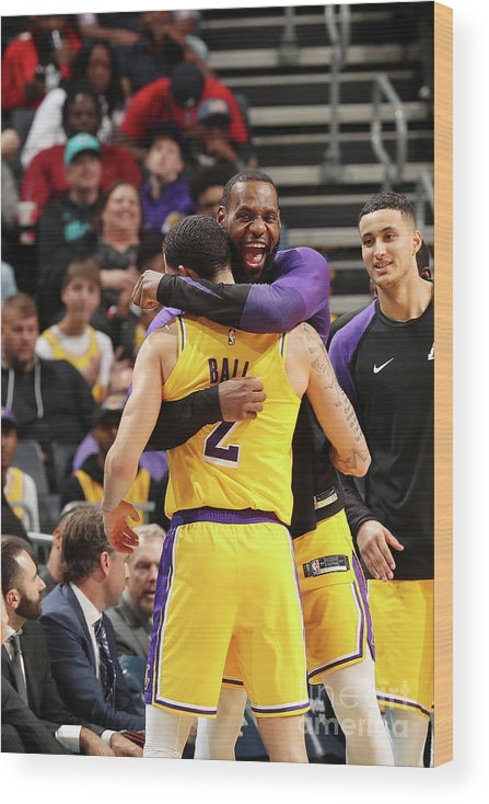 Nba Pro Basketball Wood Print featuring the photograph Lonzo Ball and Lebron James by Kent Smith