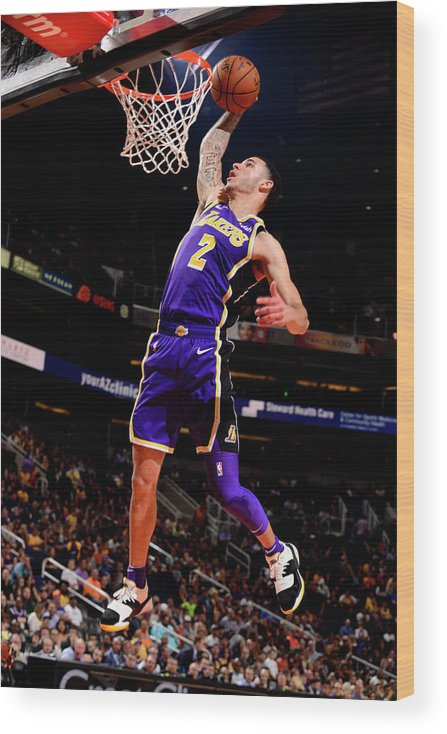 Nba Pro Basketball Wood Print featuring the photograph Lonzo Ball by Barry Gossage