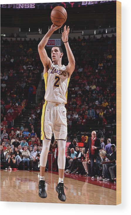 Nba Pro Basketball Wood Print featuring the photograph Lonzo Ball by Bill Baptist