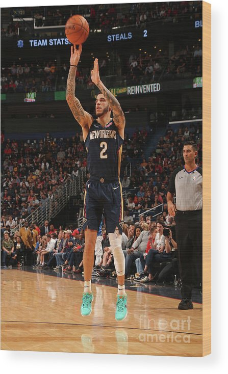 Smoothie King Center Wood Print featuring the photograph Lonzo Ball by Layne Murdoch Jr.