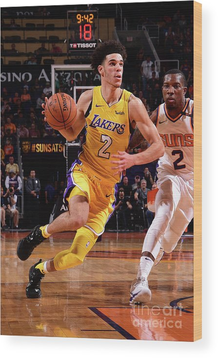 Nba Pro Basketball Wood Print featuring the photograph Lonzo Ball by Michael Gonzales
