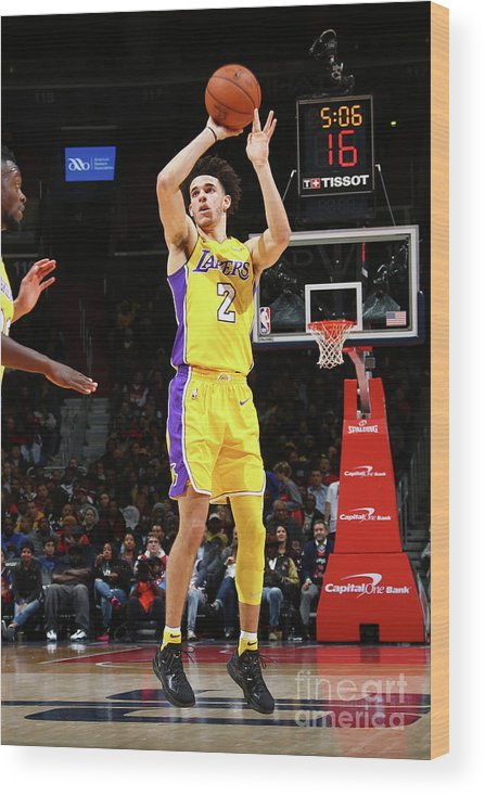 Nba Pro Basketball Wood Print featuring the photograph Lonzo Ball by Ned Dishman