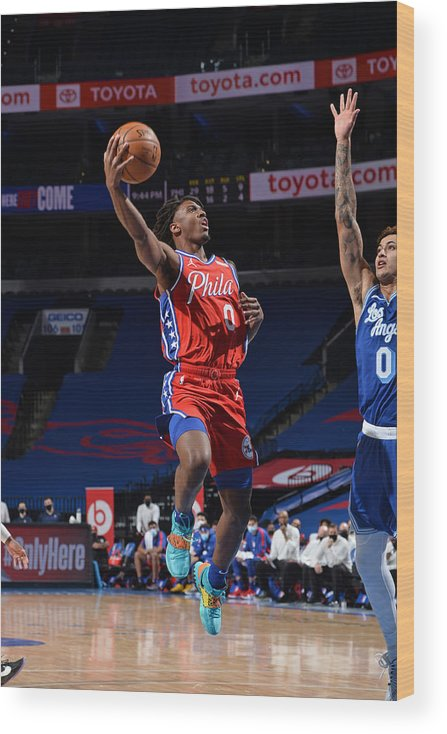 Nba Pro Basketball Wood Print featuring the photograph Los Angeles Lakers v Philadelphia 76ers by David Dow