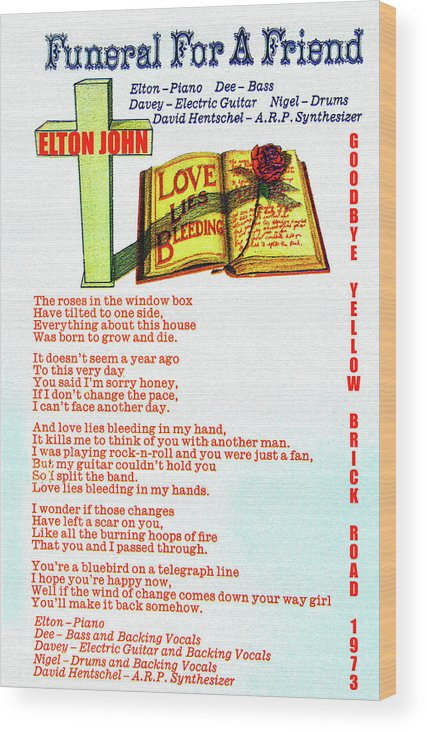 Rock And Roll Wood Print featuring the mixed media Love lies bleeding 1973 by David Lee Thompson