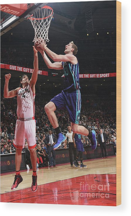 Nba Pro Basketball Wood Print featuring the photograph Luis Scola and Cody Zeller by Ron Turenne
