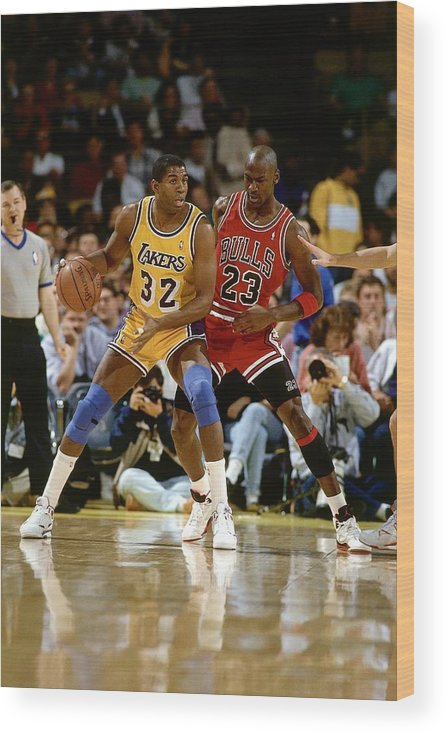 Chicago Bulls Wood Print featuring the photograph Magic Johnson and Michael Jordan by Andrew D. Bernstein