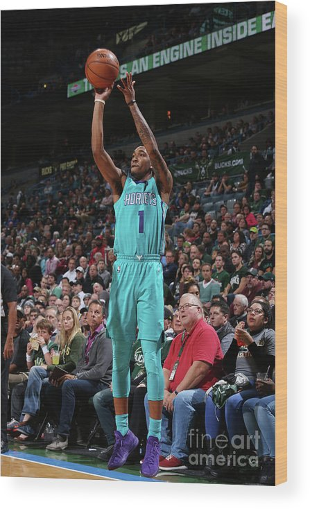 Nba Pro Basketball Wood Print featuring the photograph Malik Monk by Gary Dineen