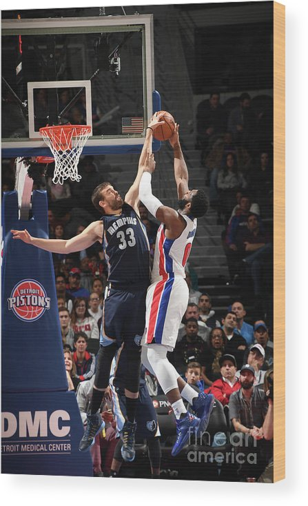 Nba Pro Basketball Wood Print featuring the photograph Marc Gasol and Andre Drummond by Chris Schwegler