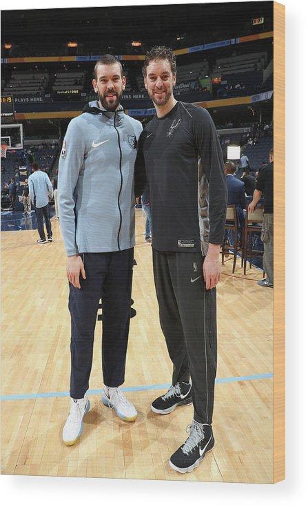 Nba Pro Basketball Wood Print featuring the photograph Marc Gasol and Pau Gasol by Joe Murphy
