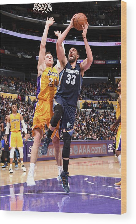 Nba Pro Basketball Wood Print featuring the photograph Marc Gasol by Andrew D. Bernstein