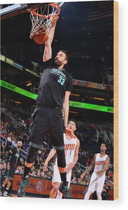 Nba Pro Basketball Wood Print featuring the photograph Marc Gasol by Barry Gossage