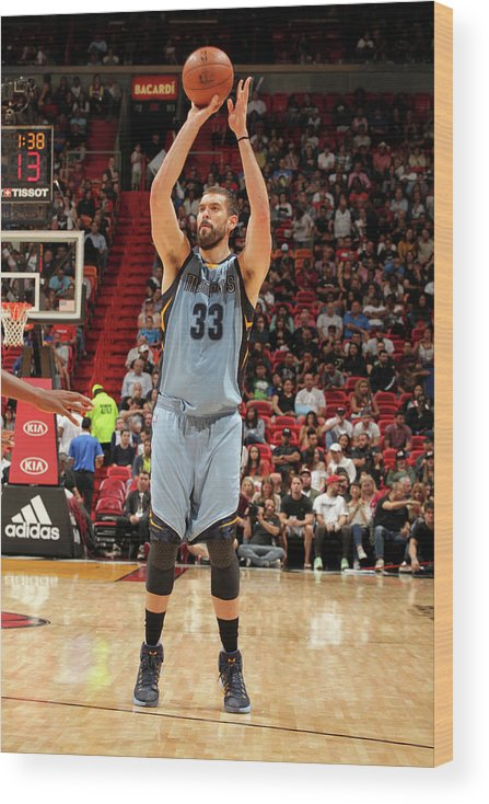 Nba Pro Basketball Wood Print featuring the photograph Marc Gasol by Oscar Baldizon
