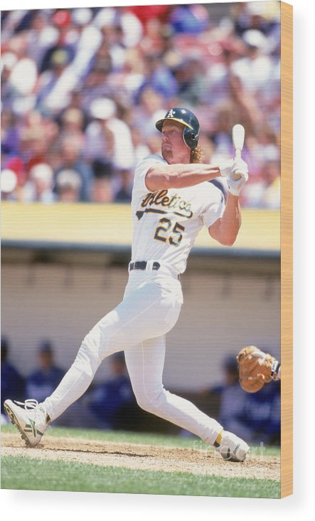 American League Baseball Wood Print featuring the photograph Mark Mcgwire by Jeff Carlick