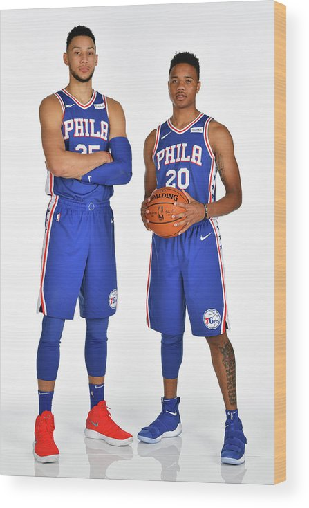 Media Day Wood Print featuring the photograph Markelle Fultz and Ben Simmons by Jesse D. Garrabrant