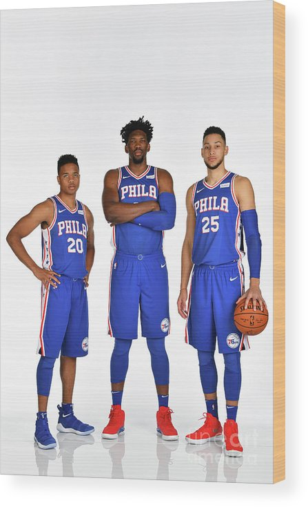 Media Day Wood Print featuring the photograph Markelle Fultz, Ben Simmons, and Joel Embiid by Jesse D. Garrabrant