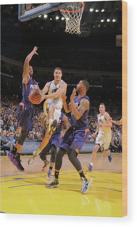 Nba Pro Basketball Wood Print featuring the photograph Markieff Morris, Klay Thompson, and Marcus Morris by Rocky Widner