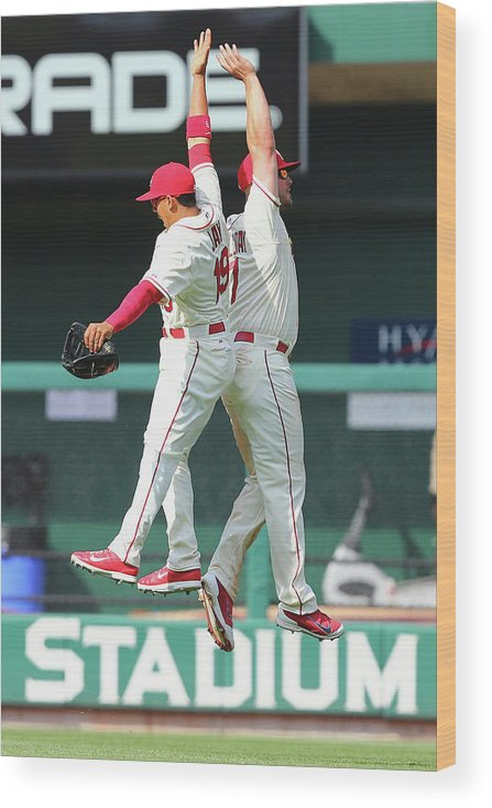 St. Louis Cardinals Wood Print featuring the photograph Matt Holliday and Jon Jay by Dilip Vishwanat