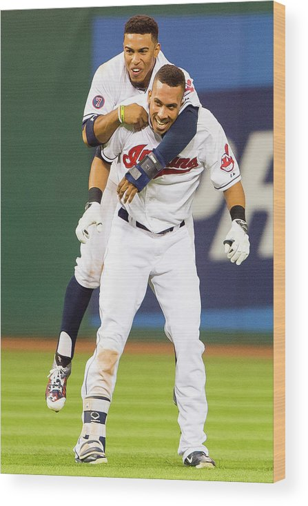 People Wood Print featuring the photograph Michael Brantley and Francisco Lindor by Jason Miller