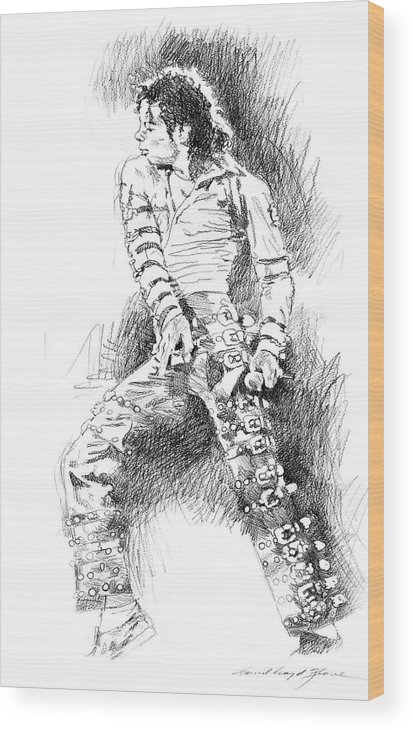 Michael Jackson Wood Print featuring the drawing Michael Jackson - Onstage by David Lloyd Glover