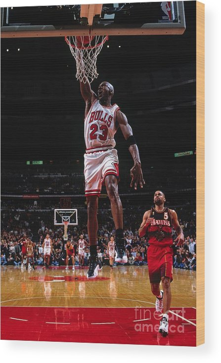 Chicago Bulls Wood Print featuring the photograph Michael Jordan by Nathaniel S. Butler