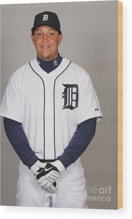 Media Day Wood Print featuring the photograph Miguel Cabrera by Tony Firriolo